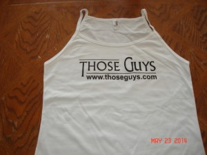 Ladies Spaghetti Tank in White